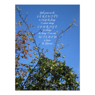 Serenity Prayer Apple Tree Poster Print