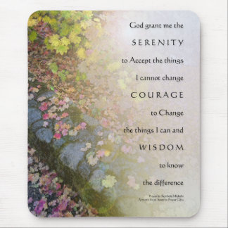 Serenity Prayer Autumn Leaves and Stone Wall Mouse Mouse Pad