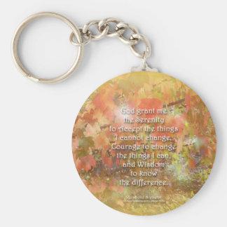Serenity Prayer Autumn Leaves Basic Round Button Keychain