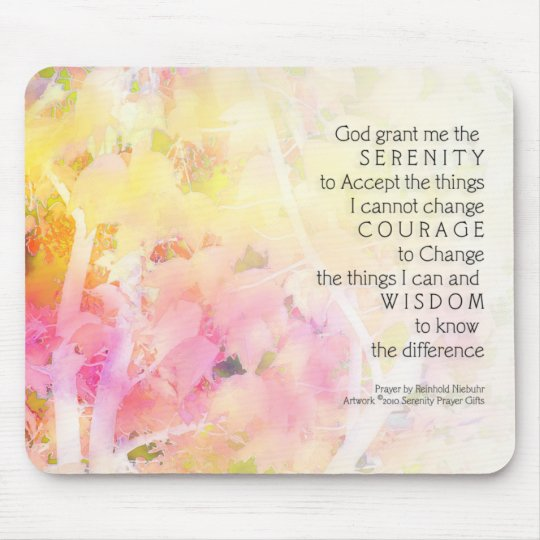 Serenity Prayer Autumn Leaves Mouse Pad
