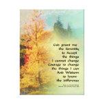 Serenity Prayer Autumn Trees on Green Canvas Print
