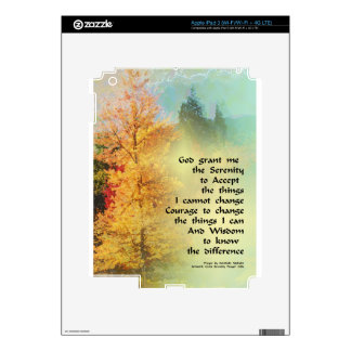 Serenity Prayer Autumn Trees on Green Decal For iPad 3