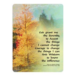 "Serenity Prayer Autumn Trees on Green 6.5"" X 8.75"" Invitation Card"