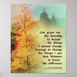 Serenity Prayer Autumn Trees on Green Poster