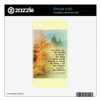 Serenity Prayer Autumn Trees on Green Decal For The iPhone 4S