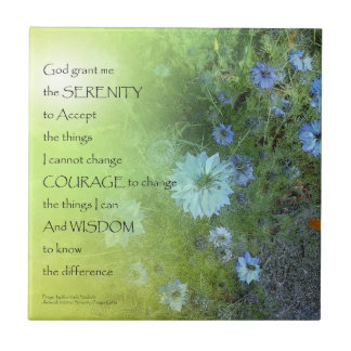 Serenity Prayer Bachelor's Buttons Ceramic Tile
