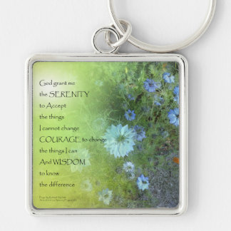 Serenity Prayer Bachelor's Buttons Keychain