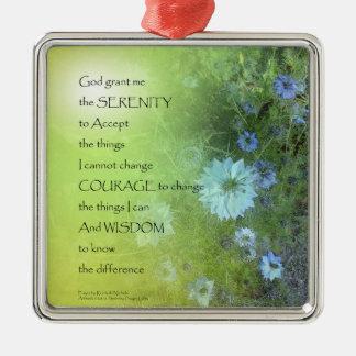Serenity Prayer Bachelor's Buttons Metal Ornament