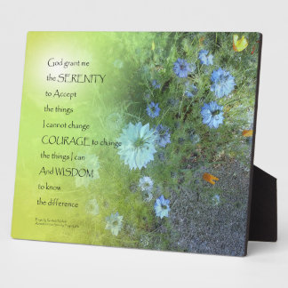 Serenity Prayer Bachelor's Buttons Plaque