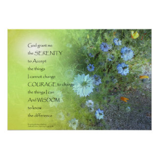 Serenity Prayer Bachelor's Buttons Poster