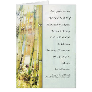 Serenity Prayer Bamboo Garden Greeting Card