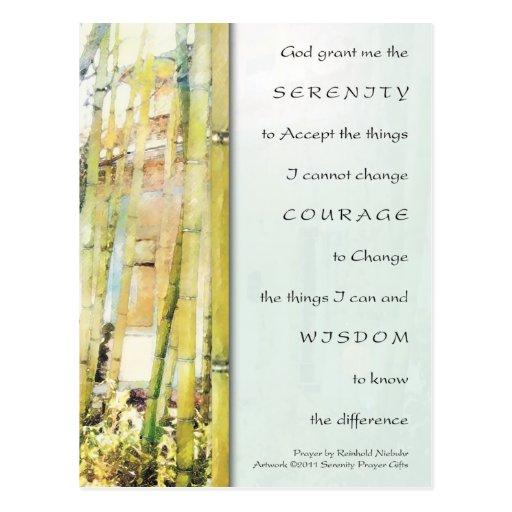 Serenity Prayer Bamboo Garden Post Cards