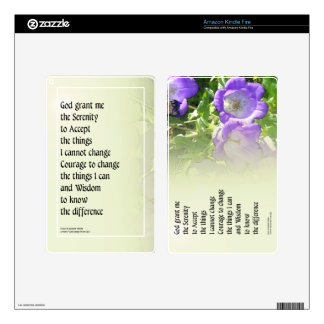 Serenity Prayer Bell Flowers Kindle Fire Decals