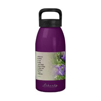 Serenity Prayer Bell Flowers Reusable Water Bottle