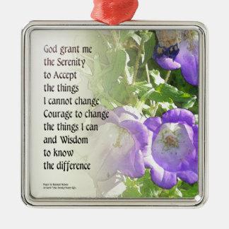 Serenity Prayer Bellflowers Metal Ornament