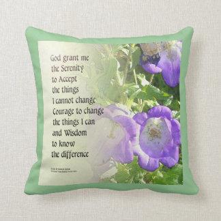 Serenity Prayer Bellflowers Throw Pillows