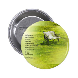 Serenity Prayer Bench Pinback Button