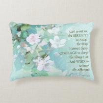 Serenity Prayer Blackberry Blossoms Accent Pillow