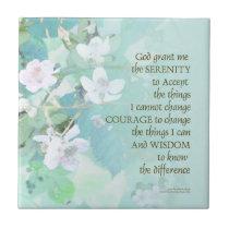 Serenity Prayer Blackberry Blossoms Ceramic Tile