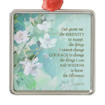 Serenity Prayer Blackberry Blossoms Metal Ornament