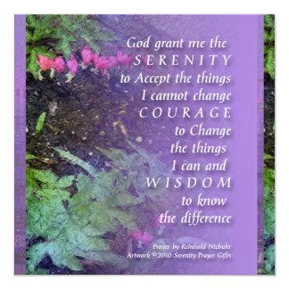 "Serenity Prayer Bleeding Hearts Invitation 5.25"" Square Invitation Card"