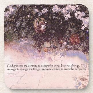 Serenity Prayer Blossoms and Lanterns Drink Coaster