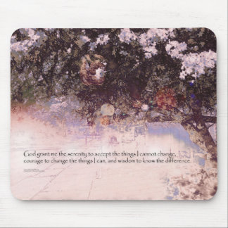 Serenity Prayer Blossoms and Lanterns Mouse Pad