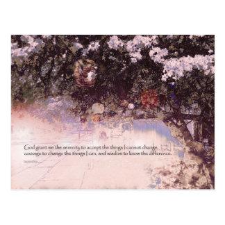 Serenity Prayer Blossoms and Lanterns Postcard