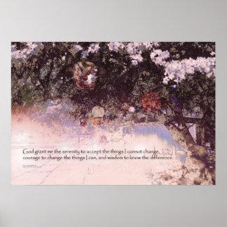 Serenity Prayer Blossoms and Lanterns Poster