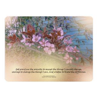 Serenity Prayer Blossoms Blue House Card