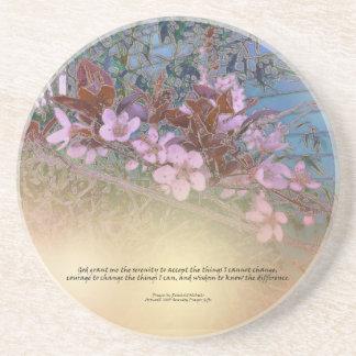 Serenity Prayer Blossoms Blue House Drink Coaster