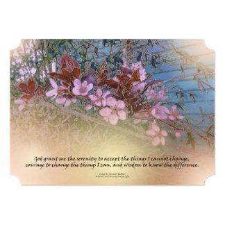 "Serenity Prayer Blossoms Blue House 5"" X 7"" Invitation Card"