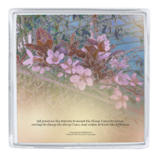 Serenity Prayer Blossoms Blue House Silver Finish Lapel Pin