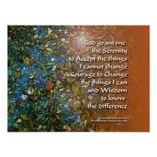Serenity Prayer Blue and Orange Poster