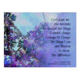 Serenity Prayer Blue Blossoms Postcard