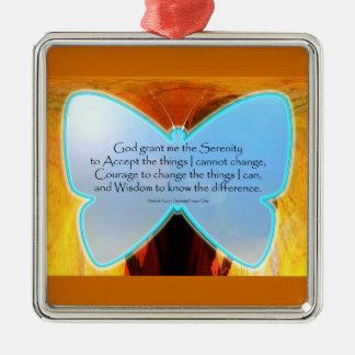 Serenity Prayer Blue Butterfly Metal Ornament