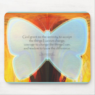 Serenity Prayer Blue Butterfly Mouse Pad