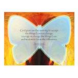 Serenity Prayer Blue Butterfly Post Cards