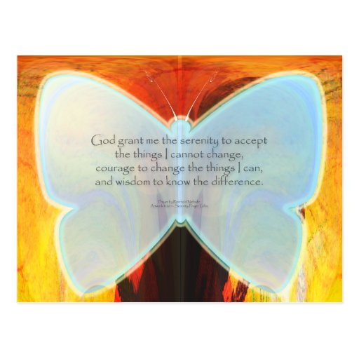 Serenity Prayer Blue Butterfly Post Cards