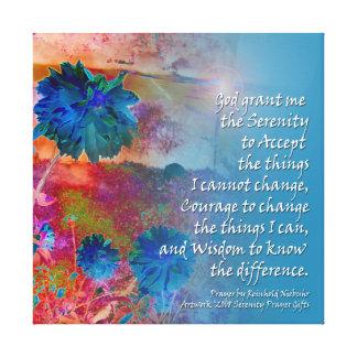 Serenity Prayer Blue Flowers Canvas Print