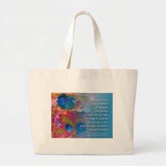 Serenity Prayer Blue Flowers Large Tote Bag
