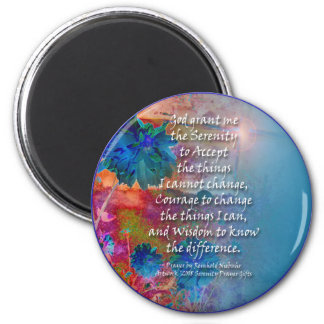 Serenity Prayer Blue Flowers Magnet