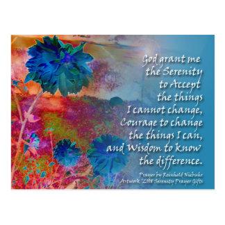 Serenity Prayer Blue Flowers Postcard