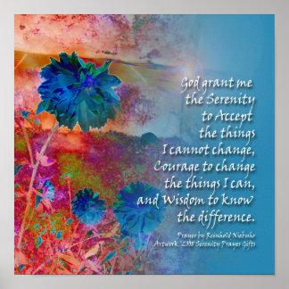 Serenity Prayer Blue Flowers Poster