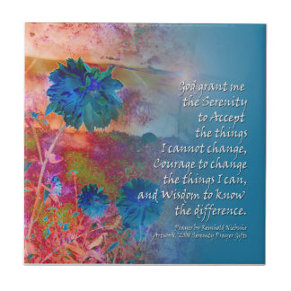 Serenity Prayer Blue Flowers Tile