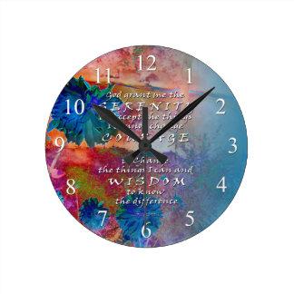 Serenity Prayer Blue FlowersWall Clock