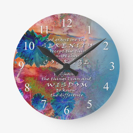 Serenity Prayer Blue FlowersWall Clock
