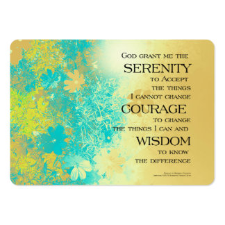 Serenity Prayer Blue Gold Flowers Large Business Card