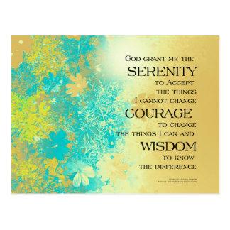 Serenity Prayer Blue Gold Flowers Postcard