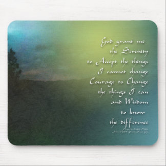Serenity Prayer Blue Green Mountains Mouse Pad